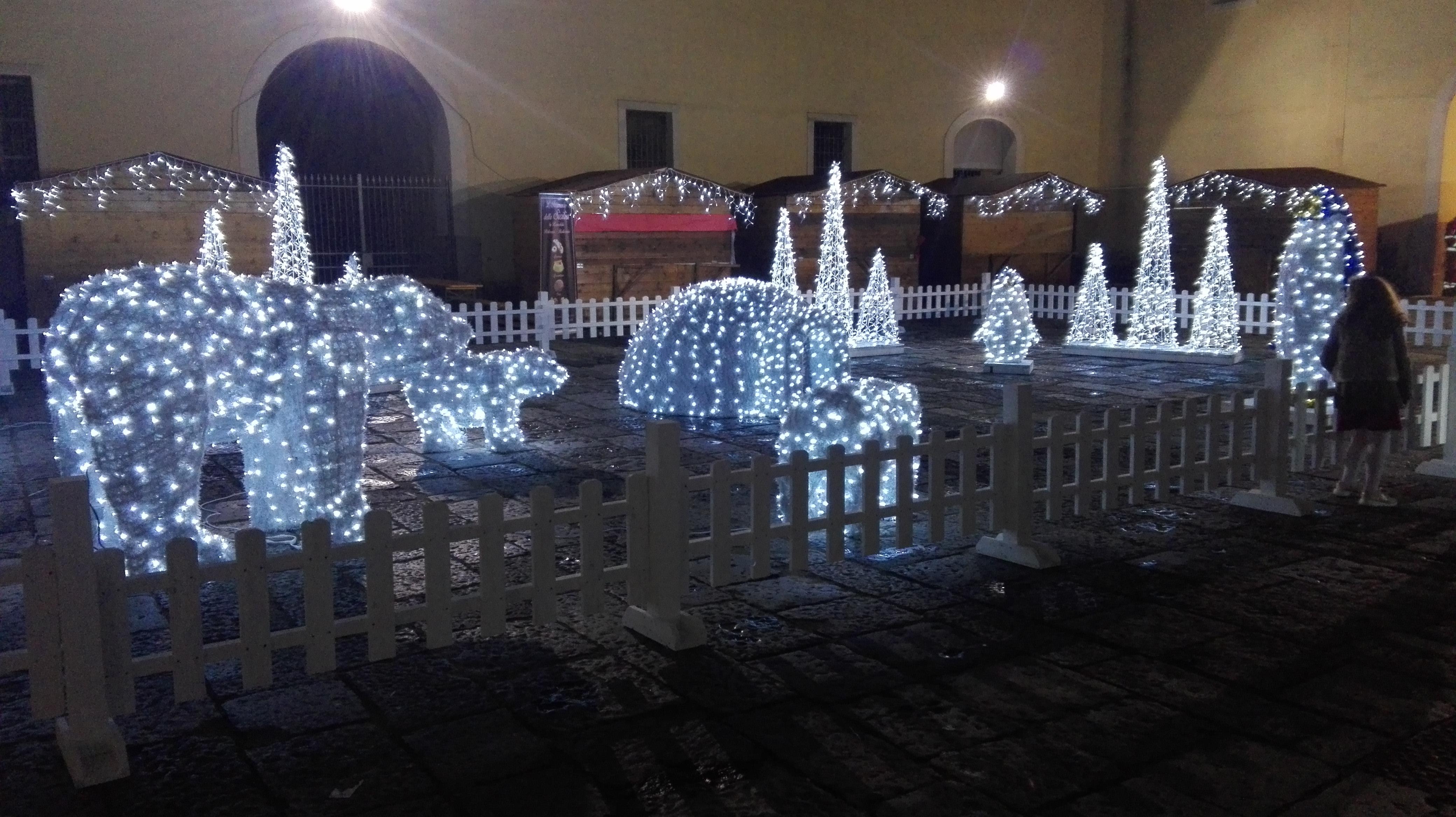 pupazzo di neve luminarie animali